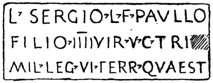 Sergius Paulus Younger Inscription