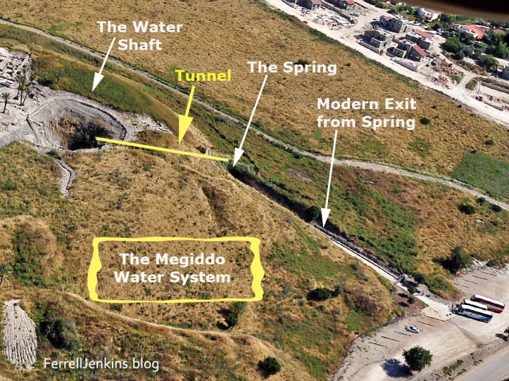 Megiddo - Aerial of Water Shaft and exit from spring